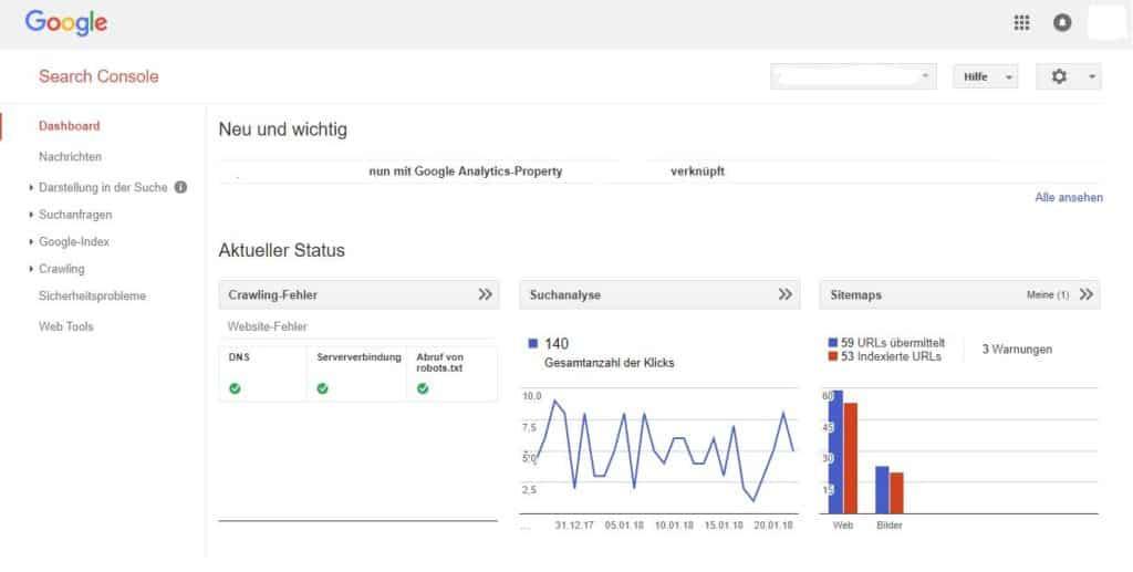 Google Webmaster-Tools Dashboard