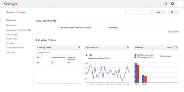 Google Webmaster-Tools Dashboard