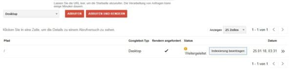 Google Webmaster-Tools - Indexierung beantragen