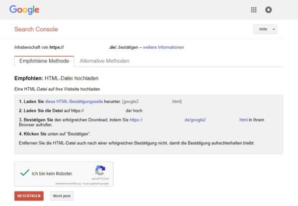 Google Webmaster-Tools - Inhaberschaft