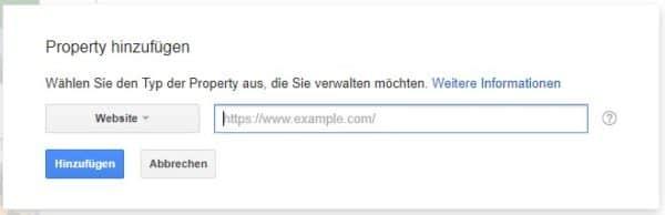 Google Webmaster-Tools - Property hinzufuegen