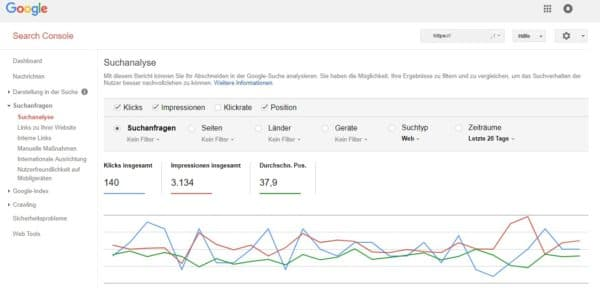 Google Webmaster-Tools - Suchanalyse
