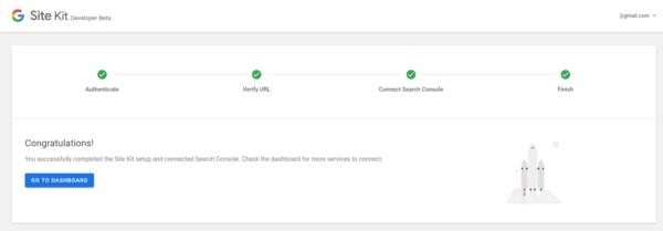 Site Kit erfolgreich mit Search Console verbunden