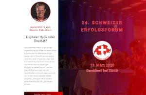 Landing Page für das 24. Schweizer Erfolgsforum am 13. März 2020