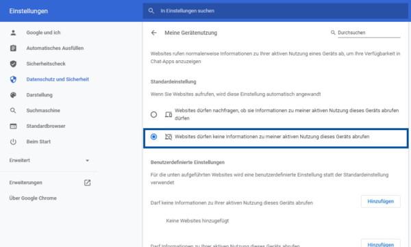 """Einstellung für """"Idle Detection API"""" in Google Chrome Version 94"""